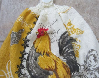 Country Rooster Double Sided Hanging Kitchen Towel With Crochet Top