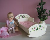RESERVED FOR A - Vintage 1950s Wooden Cradle w/ Hand Painted Pink Flowers -Play Scale