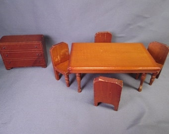 Vintage Miniature Kage Dollhouse Furniture - Dining Room Set - 3/4 Scale