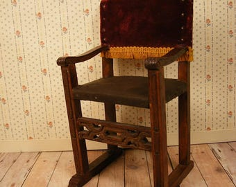 """Antique Doll or Dollhouse Chair - Leather and Velvet - 6"""" Tall"""