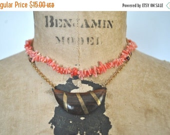 50% OFF 2 Choker Necklaces / beach shells  and wood bead