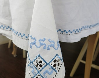 Handmade Blue White Rectangular Tablecloth & 8 Matching Napkins  Reticella Needle Lace Inserts Embroidery Vintage