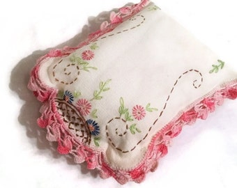 Rustic Farmhouse Pillow Tuck, Bowl Filler, Basket Ornie, Country Home Decor, Upcycled Vintage Embroidered Dresser Scarf, Small Accent Pillow