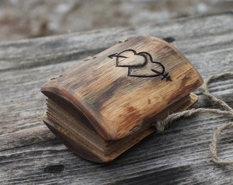 Rustic wood journal small wedding guest book with heart