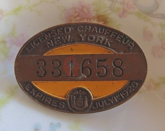 New York Chauffeur's License - Dated July 1926 - REDuCED