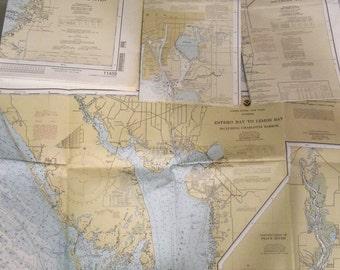 Lot of 4 Vintage Florida Nautical Charts maps Gulf Coast Tampa Bay Estero Bay Anclote Keys 1991 1992 1996