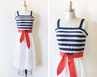 vintage 70s nautical dress, 1970s striped sundress, 4th of July red white and blue dress, extra small small