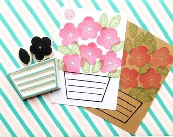 flower pot rubber stamp set, abstract flower stamp, label stamp, snail mail hand carved stamp, card making, spring summer crafts, set of 3