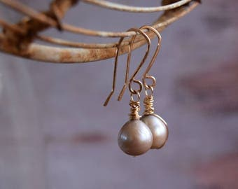Blue Pearl Gold Earrings, Smoky Gray Pearls, Gold jewelry, 14 Karat Gold filled Wire wrapped earrings, Gift for Mother, Sister, Wife