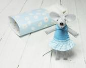 Stuffed felt miniature mouse in matchbox, felt  plush animal, turquoise, blue, handmade doll