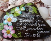 Hand Painted Idaho River Rock- Acrylic Original, Unique, Scripture, Inspirational, Pink & Teal Daisy, Green, Paper Weight, Shelf sitter