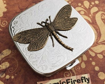 Dragonfly Pill Case Steampunk Pill Case Mirror Case Silver Pill Case Gothic Victorian Steampunk Accessories
