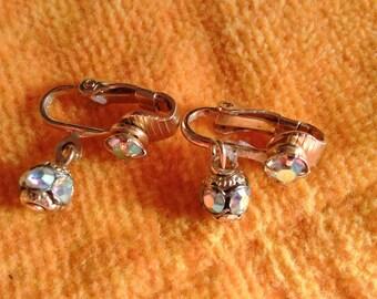 Ab Bead Dangle Clip Earrings
