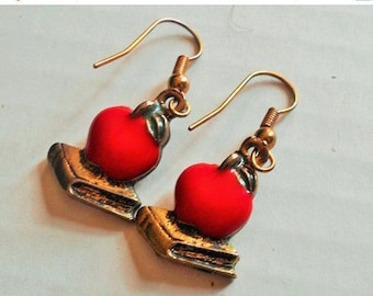 SALE Red Apple Book Earrings, Pierced Ears, Cute