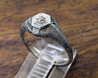 vintage engagement ring victorian 18k white gold filigree ring with mine cut diamond size 55 - Vintage Wedding Rings 1920