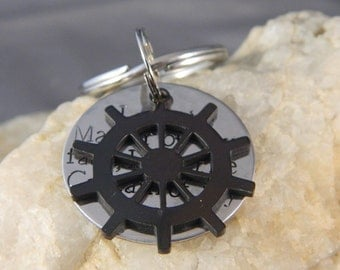 I am the Master of my Fate, I am the Captain of my Soul with Silver or Black Rudder Keychain