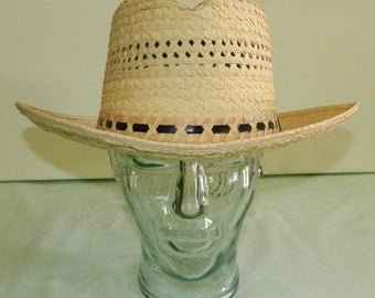 Size 7 40s Panama Genuine Palm Braid Boater Hat Gambler Horseshoe Crown Deadstock nos New Old Stock Amish