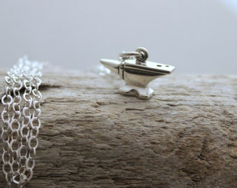 Tiny Anvil Charm Necklace - 925 Sterling Silver Jewelry - Sterling silver cable chain - Minimalist - Blacksmith Jewelry - Metalsmith