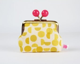 Metal frame coin purse with color bobbles - Shades in yellow - Color mum / Japanese fabric / Minimalist / yellow neon pink / Ellen Baker