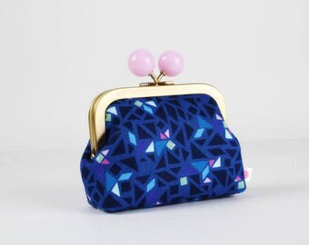 Metal frame coin purse with color bobble - Puzzle in blue - Color dad / Geogram / Samarra Khaja / Japanese fabric / Mosaic / mint lilac