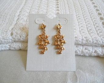 Gold Tone Leaf Vines Dangle Pierced Earrings