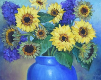 Yellow Sunflowers Blue Vase Still Life Painting,12x16 Original Oil Painting By Cheri Wollenberg