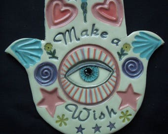 JUDE - HAMSA Hand, Good Luck, Protection - Ceramic Mosaic Tiles