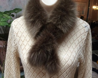 Vintage brown tones fox fur collar, detach brown blonde silver fox collar, fur collar TO REPURPOSE