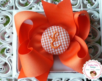 New Item---Boutique Monogrammed Baby Toddler Girl Hair Bow Clip---GINGHAM---Orange & White---Letter E--Ready to Ship