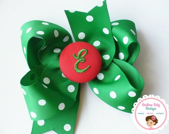 New Item---Boutique Monogrammed Baby Toddler Girl Hair Bow Clip---POLKA DOTS---Emerald Green & Red---Letter E---Ready to Ship