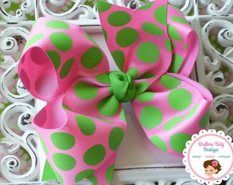 NEW----Boutique Large Hair Bow Clip or Headband----Hot Pink & Apple Green Gumdrop Dots