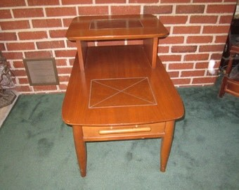 Vintage Stanley Mid Century Modern Step End Table with Drawer No.2