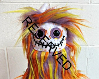 RESERVED for April -  Handmade Skelly Plush - Purple Yellow Orange Faux Fur - Plush Skeleton Toy - Weird Toy - OOAK Minor Bonez