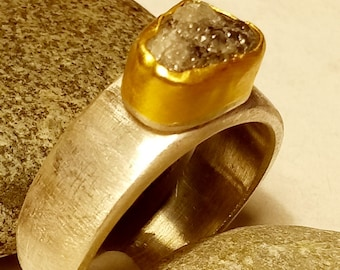 2.46 carat rough grayish diamond set in 22k solid gold on a brushed silver band.One of a kind ring for wedding, engagement, statement ring.