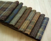 """Hand Felted Wool, CROCODILE, Olive Brown Textures, Eight 6"""" x 16"""" pieces for Rug Hooking, Applique and Crafts"""