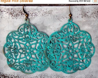 Sale Turquoise Earrings Patina Earthy Flower Rustic Woodland Filigree Dangle Boho Brass Bohemian Earrings Jewelry Drop Earrings Jewelry