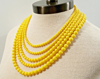 Vintage Yellow Necklace, Multi Strand Sunshine Yellow Bead Japan Necklace, Large 5 Strand Glass Bead Necklace, Bright Summer Jewelry