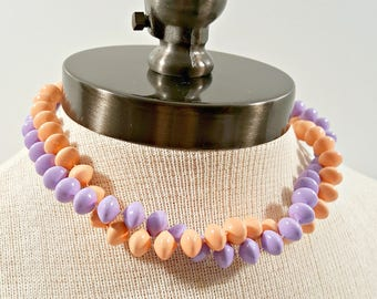 Vintage Choker Necklace Set, Two Peach and Purple Painted Bead Layering Choker Necklaces, 80s Flying Saucer Bead Summer Jewelry Set