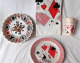 Vintage Card Deck Theme Paper Cups, Plates, Tablecloth +, in Pack