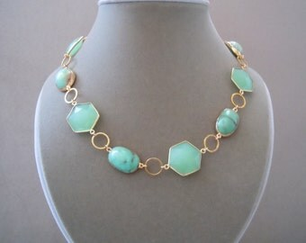 Secret Garden -- One of a Kind -- Chrysoprase and Chalcedony Connector Necklace