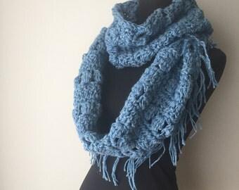 Hemp Wool Super infinity scarf fringed loop scraf cowl boho bohemian hippie blue ready to ship