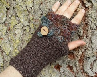 Pixie Mitts OOAK fingerless mitts in handpainted Grey Blue Rust Brown Hemp wool Forest Fae Woodland Inspired tree branch Button Leaf Detail