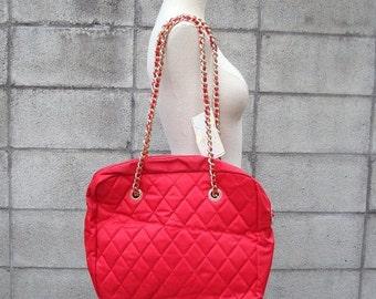 Capezio Tote Bag Vintage 1980s Red Nylon Quilted Chain Strap Purse