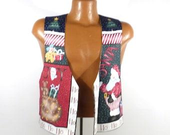 Ugly Christmas Sweater Vintage Cardigan Vest Ho Made Homemade Tacky Holiday Santa