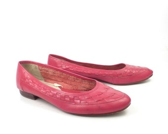 Red Shoes Flats Vintage 1980s Coasters Leather Craft Women's 8 1/2