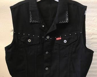 Jean Denim vest Vintage 1990s Cotton Black Cest Toi Cropped Studded Women's size L