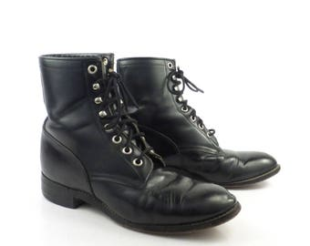 Roper Boots Vintage 1980s Justin Leather  Black Granny Lace up Packer Men's size 5 D Women's size 6 1/2