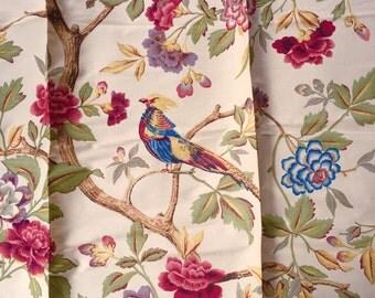 Vintage Decorator Fabric with Dark Red Animals
