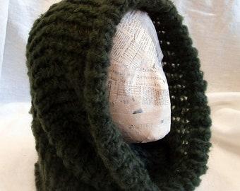Knit cowl -blue or green - alpaca blend