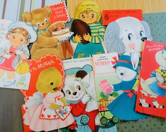 Flocked Juvenile Greeting Cards Featured in Vintage All Occasion Lot No 182 Cute Animals Football Player and Little Girl Total of 8